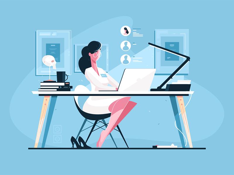 Modern doctor at workplace illustration by Anton Fritsler (kit8) for Kit8
