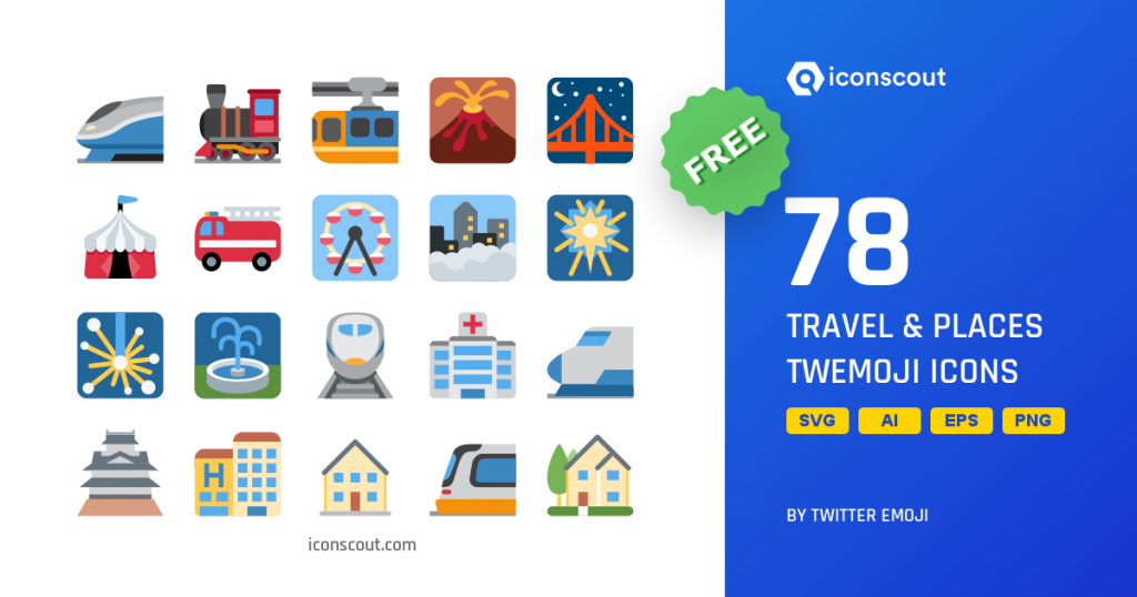 Travel & Places Twitter emoji icons