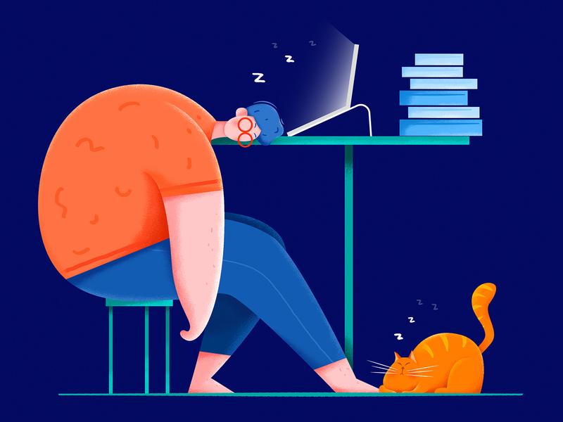 Work overtime animation by Uran for Fireart Studio in Illustration