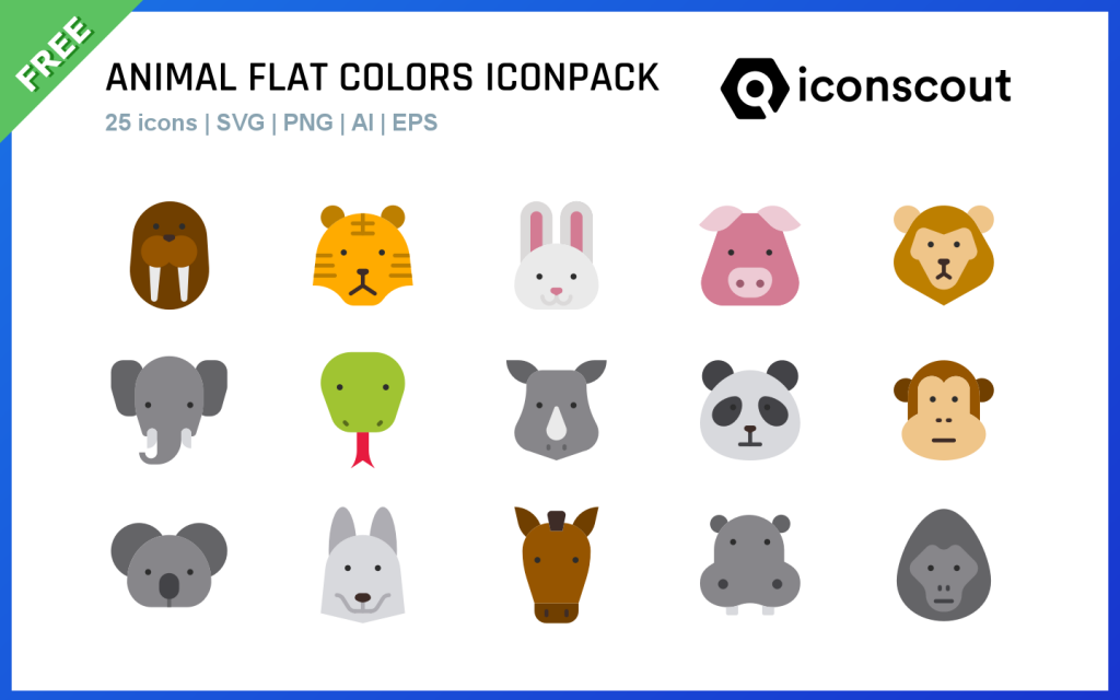 Animal flat colors iconpack by Tezar Tantular for free design assets in iconscout.