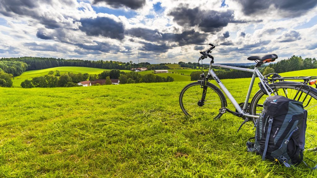 Bicycle With Backpack In Green Garden stock photo By Felix Mittermeier