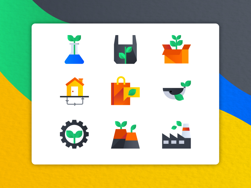 Ecology icons by Sooodesign for iconscout design inspiration blog