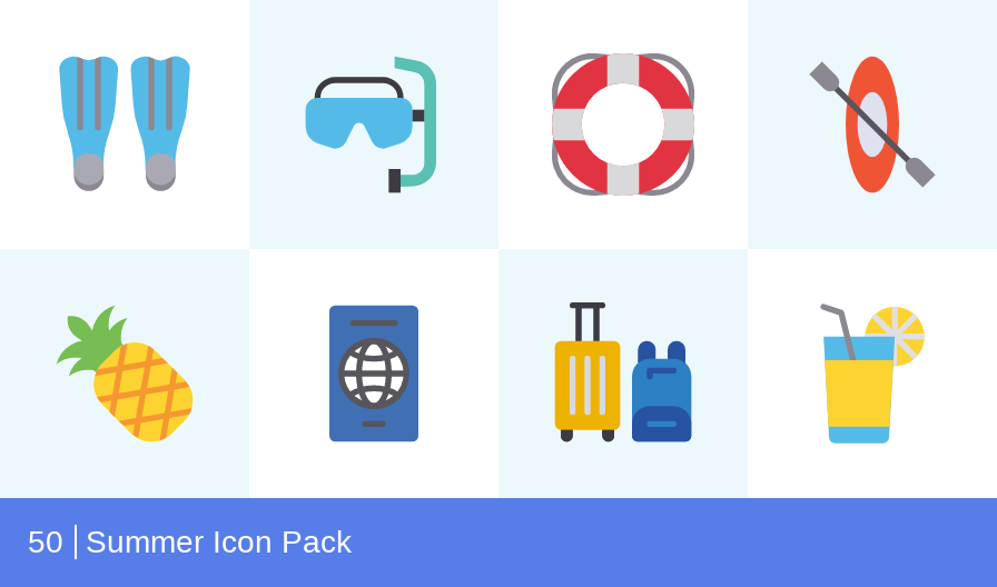 Summer icon pack by Iconscout Freebies