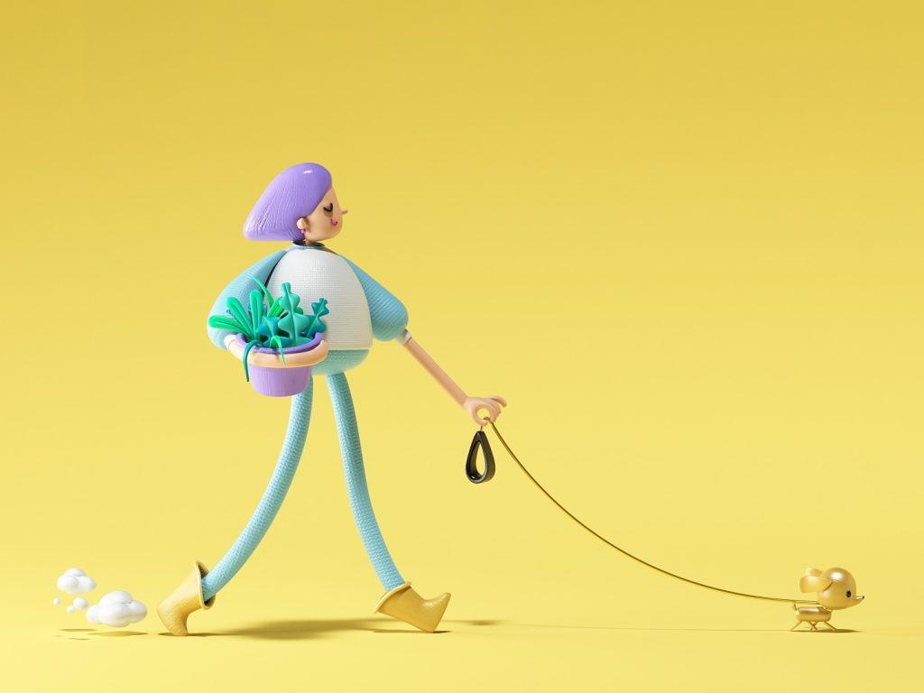 Walk 3D illustrationby Eloy Krioka