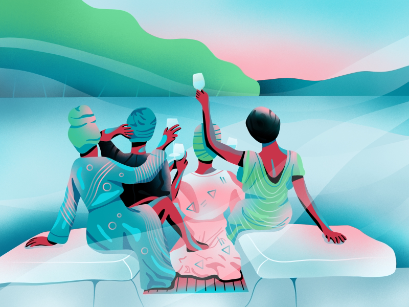 Boat party illustration by Berin Catic