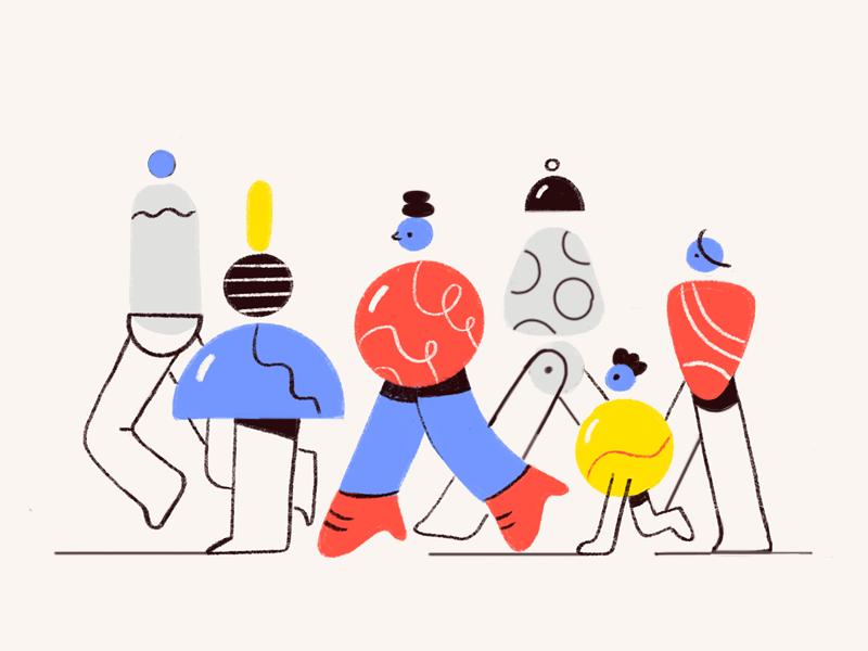 crowd illustration by zara magumyan in design inspiration