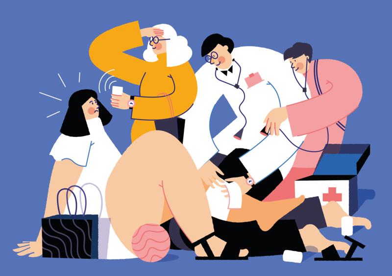 First aid team illustration by Karolina Kędzierska in design inspiration