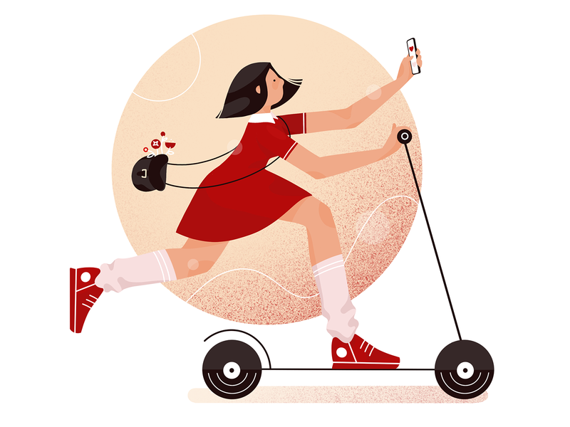 scooter girl illustration by Cuberto