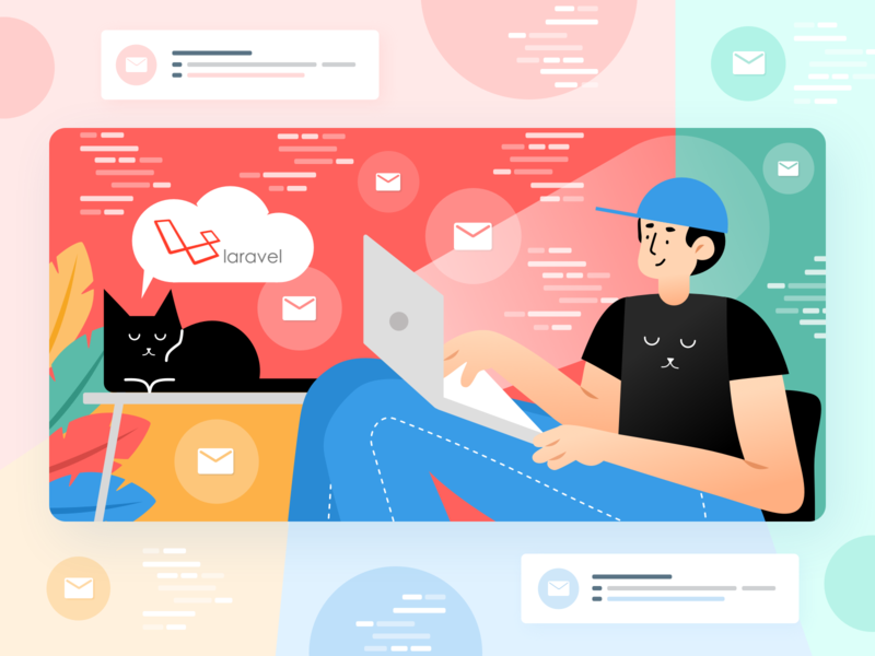 Sending emails in laravel - all you want to know illustration by Kate Musayeva for Railsware