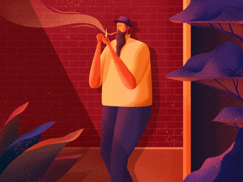 Smoking man illustration by 初夏Ruby for VisualMaka