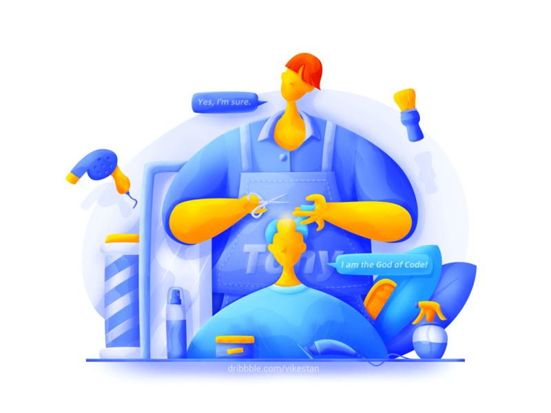 Barber illustration by VikesTan in iconscout design inspiration blog