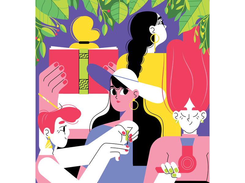 Daily women routine illustration by Karina in iconscout design inspiration blog