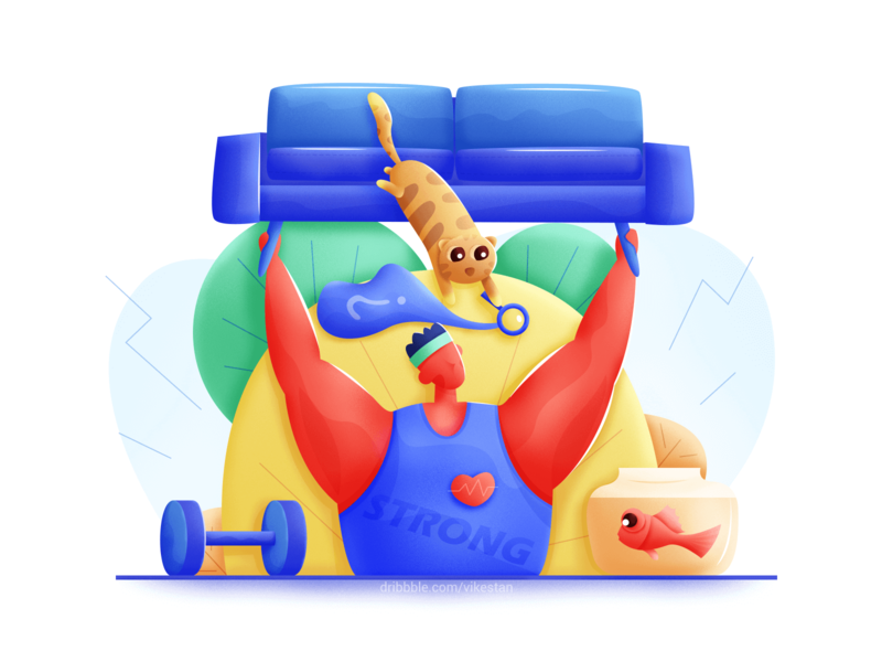 Fitness coach illustration by VikesTan for design inspiration