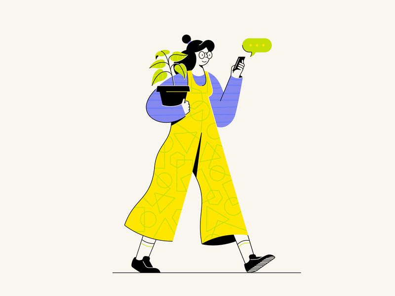 Lady and the plant illustration by Makers Company for iconscout design inspiration
