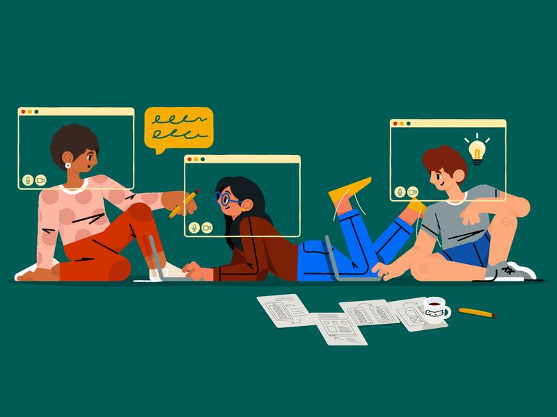 Remote work illustration by Ka Lee for MetaLab in MetaBlogs Illustration for design inspiration