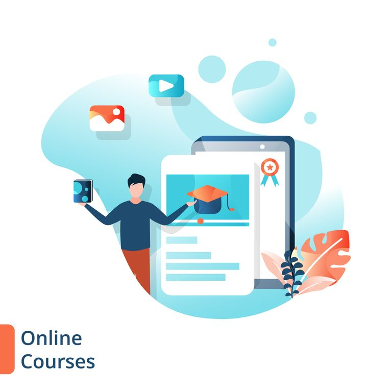 Online courses illustrations