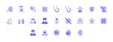 Coronavirus icons in Unicons icon library