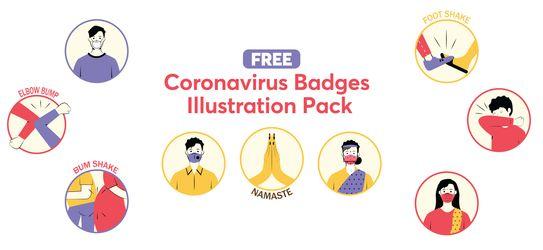 Free Illustrations pack - Coronavirus Badges Illustrations