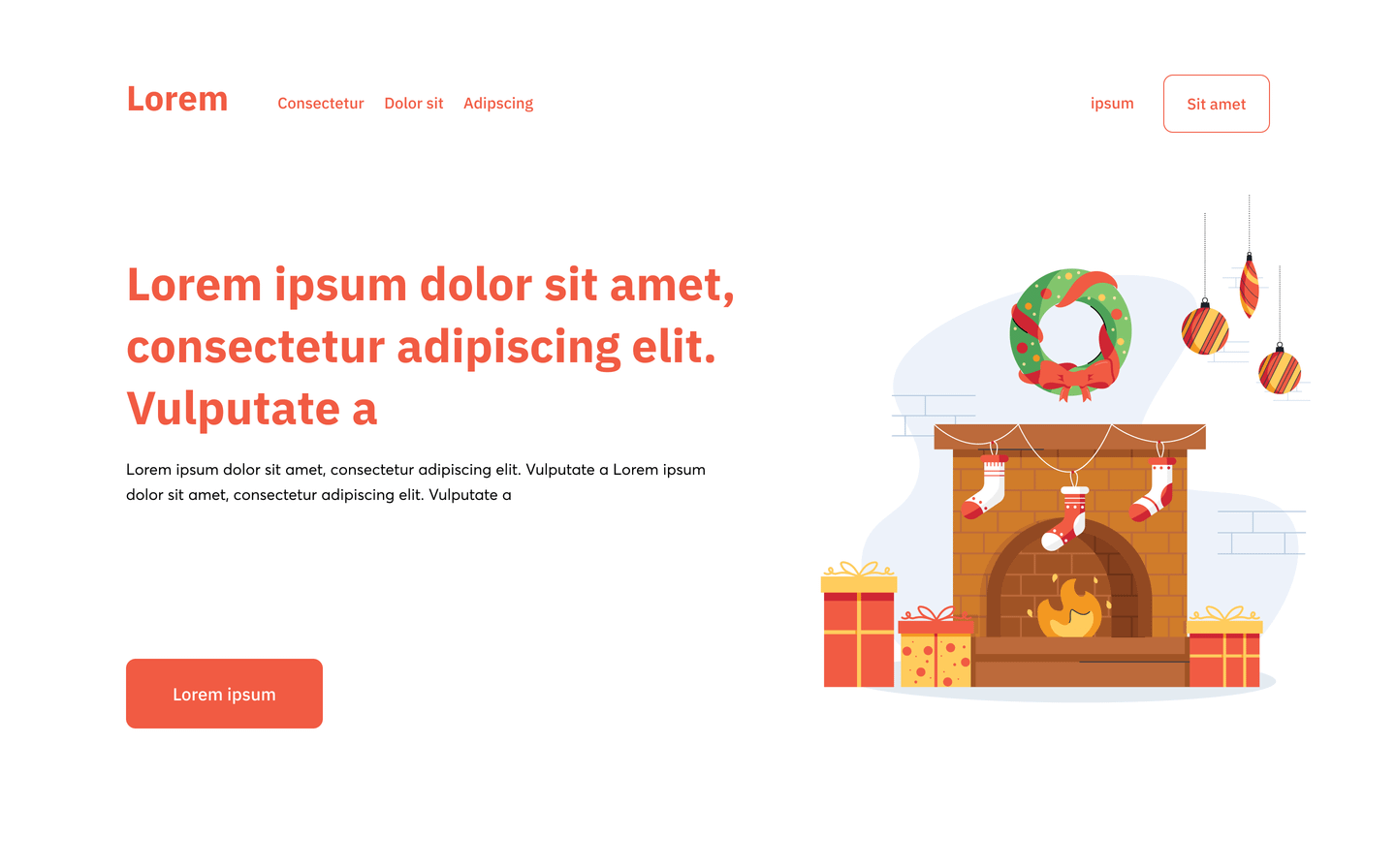 Landing Page with Christmas Illustration