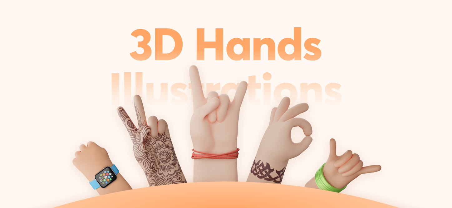 3D Hand Assets - Exceptionally fun 3D illustrations by Iconscout