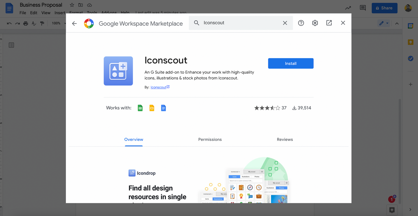 Search Iconscout in the add-ons store and click Install