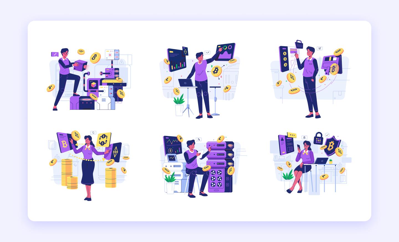 Uniquely designed Cryptocurrency Illustrations