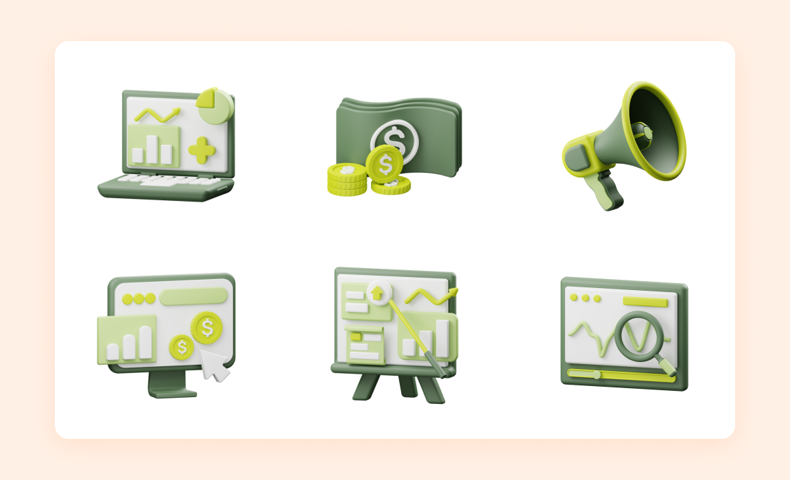 Business 3D Pack- Iconscout